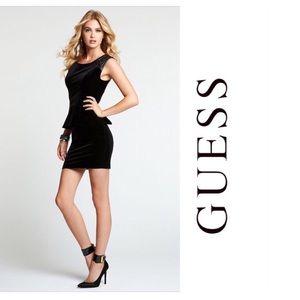 Guess Solid Black Velvet Peplum Mini Dress